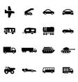 black vehicles icon set