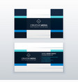 blue business card design template in clean style vector image vector image