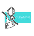 brush and broomstick cleaning service company vector image vector image