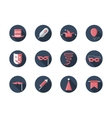 Carnival round flat icons set vector image