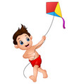 cartoon boy playing kite vector image vector image