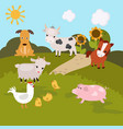 cartoon farm landscape cartoon farm landscape vector image vector image