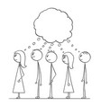 cartoon of group of people waiting in line or vector image