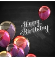 chalk of Happy Birthday emblem and vector image vector image