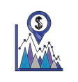 coin dollar in pin pointer location with vector image