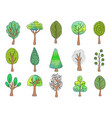 collection hand drawn trees vector image