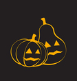 Couple Pumpkins for Halloween black background vector image vector image