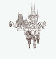 digital drawing of a historical tower in prague vector image vector image
