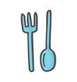 doodle color fork and spoon vector image