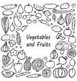 doodle vegetarian food frame vector image vector image
