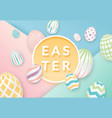 easter background with 3d ornate eggs with circle vector image