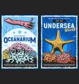 exotic sea fishes and oceanarium retro posters vector image vector image