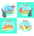 famous india symbols on set bright posters vector image