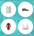 flat icon garment set of male footware singlet vector image vector image