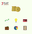 Flat icon incoming set of graph cash billfold