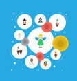 Flat icons magic gnome avatar and other vector image