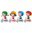 four kids riding bike with helmet on vector image vector image