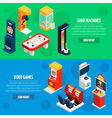 Game Machines 2 Isometric Banners Set vector image vector image