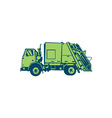 Garbage Truck Rear End Loader Side Woodcut vector image vector image