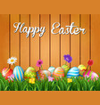 happy easter with flowers and colored eggs in the vector image