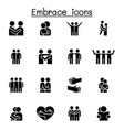 hug embrace icon set graphic design vector image vector image