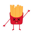 isolated dead french fries emote vector image