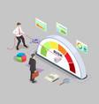 isometric businessman turning risk meter arrow vector image