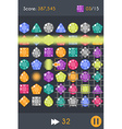 Match3 Gems Puzzle Game Screen vector image vector image