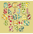 multicolored striped alphabet vector image vector image