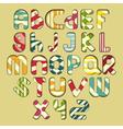 multicolored striped alphabet vector image