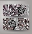 nail art hand drawn doodle banners set cartoon vector image