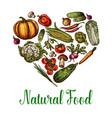 Natural vegetables food sketch heart poster vector image