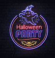 neon sign halloween party with ghost vector image vector image