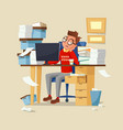 office manager work routine of vector image