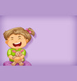 plain background with happy girl and rabbit doll vector image
