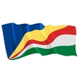 political waving flag of seychelles vector image vector image