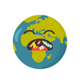 poster of upset planet with garbage in the mouth vector image vector image