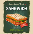 retro fast food sandwich poster vector image vector image