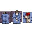 sad man with broken heart comics vector image vector image
