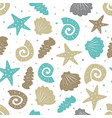 sea seamless pattern with cute seashells vector image vector image