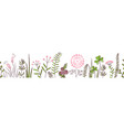 seamless border with forest and meadow plants vector image vector image