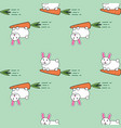 seamless pattern with cute lovely cartoon bunny vector image vector image