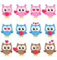 set of cute pink blue and brown owls with hearts vector image