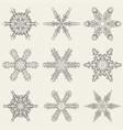 set of vintage snowflakes vector image