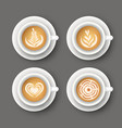 set with realistic white cups with coffee vector image
