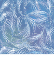 Snowy gleaming frozen pattern on blue window vector image vector image