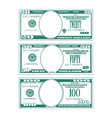 three simplified stylized bills vector image vector image