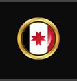 udmurtia flag golden button vector image