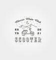 vintage scooter logo line art symbol design vector image vector image