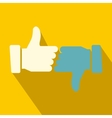 Hands showing thumbs up and down flat icon vector image